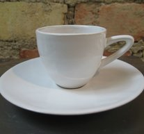 Espressokopp med fat Vit