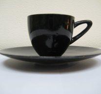 Espressokopp med fat Svart blank
