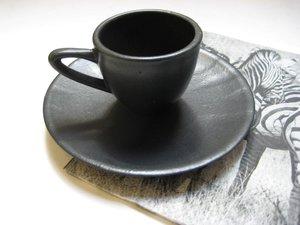 Espressokopp med fat Svart matt