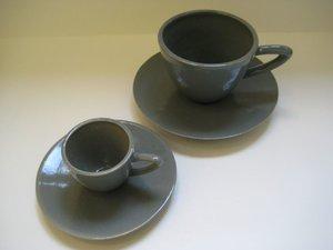 Espressokopp med fat Grå blank