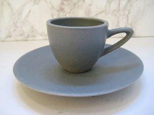Espressokopp med fat Grå matt