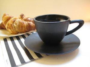 Cappuccinokopp med fat Svart matt